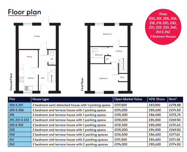 Cranbrook 2 bedroom floor plan