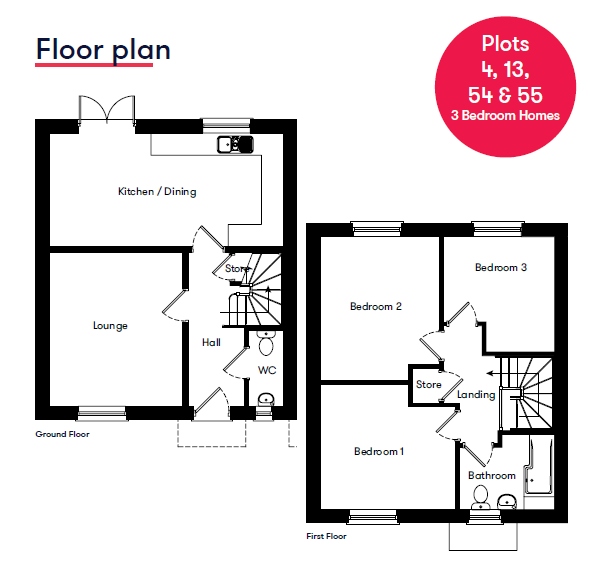 Floor Plan Uffculme 3 Bedroom House