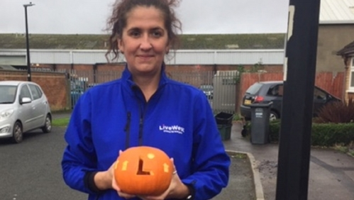 Kathryn Perks with pumpkin entry